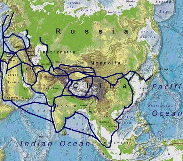 シルクロードの地図